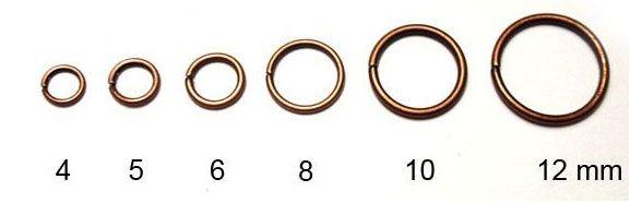 Spojovací kroužek, staroměděný, 6 mm