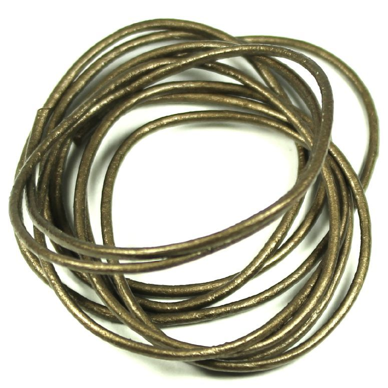 Kůže kulatá metalická 1mm zlatohnědá