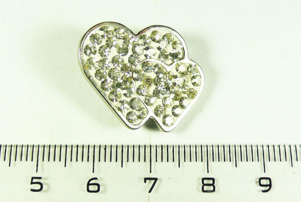 CVAK buton štras srdce v srdci