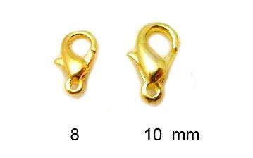 Karabinka pozlacená 8 mm
