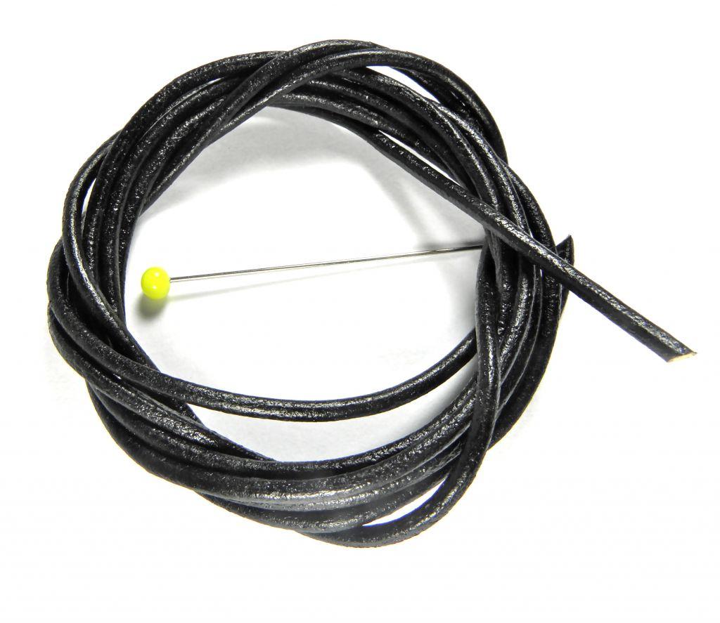 Kožený řemínek kulatý černý 2 mm