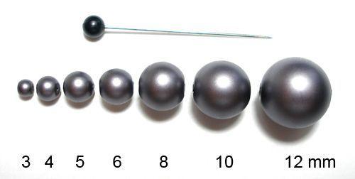 Voskované perly 5 mm šedé mat