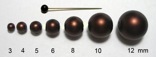 Voskované perly 6 mm hnědé mat