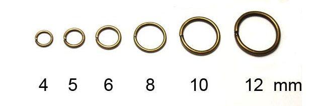 Spojovací kroužek, starozlatý, 6 mm