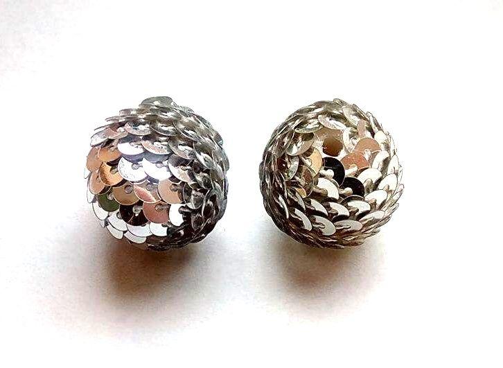 Flitrový korálek stříbrný