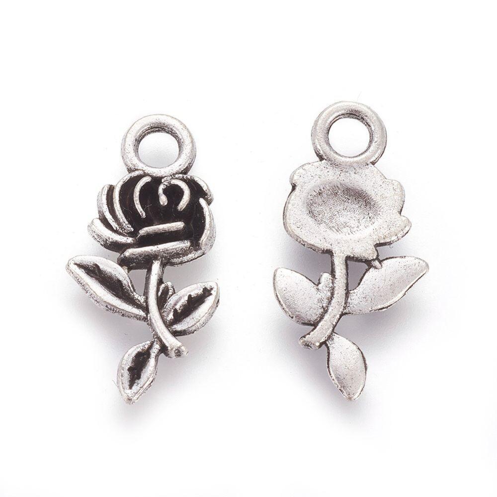 Přívěsek kovový růže starostříbrná