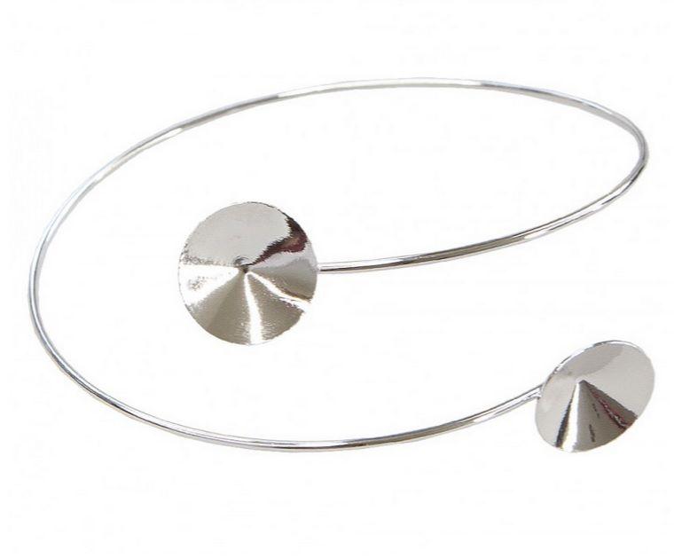 Náramek rhodium na rivoli 10+14 mm