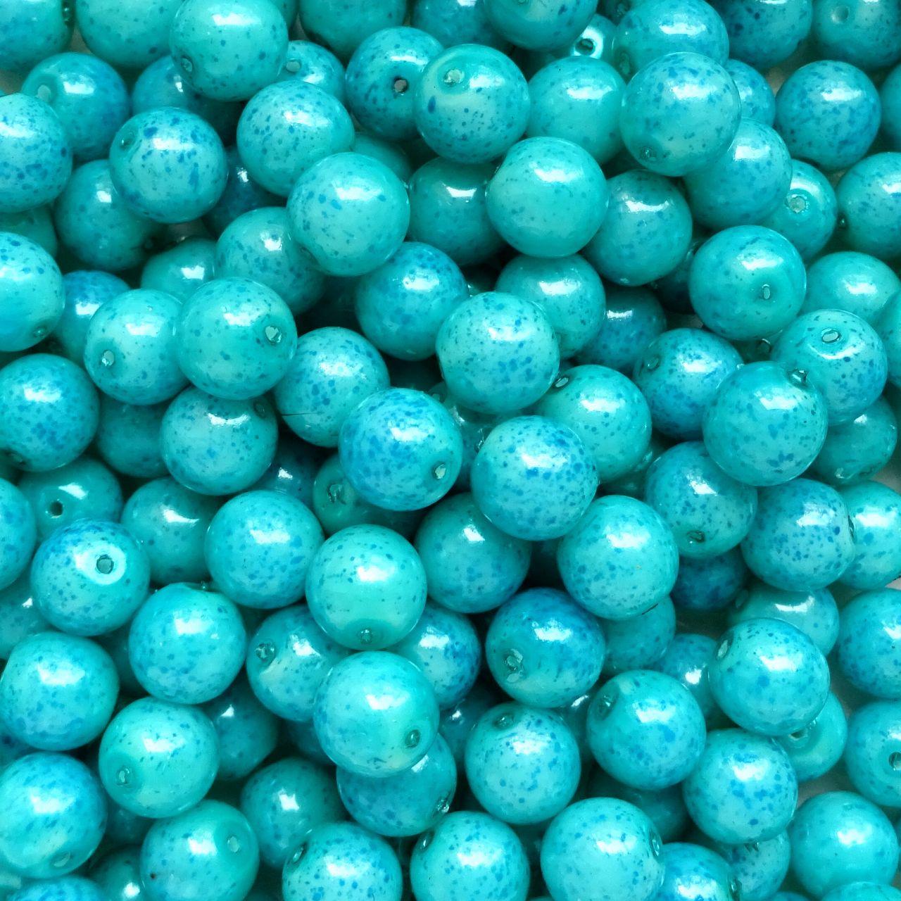 Voskované perly 8 mm tyrkys stříkané