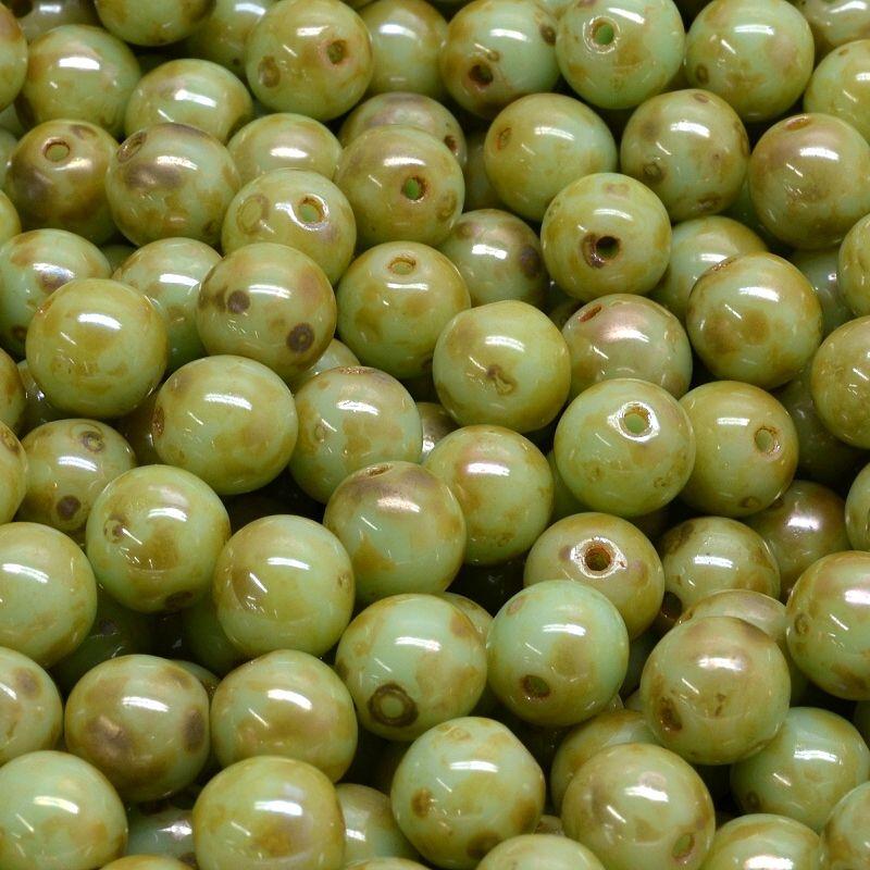 Kuličky 6 mm sytě sv. zelené picasso