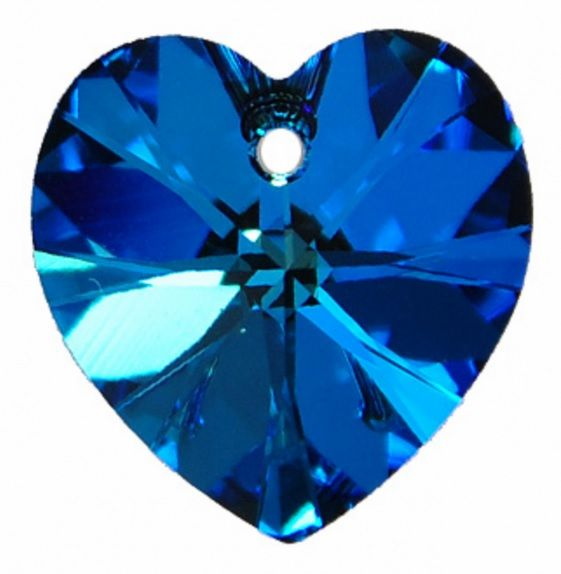 Swarovski Srdce 14 Cr. Bermuda blue