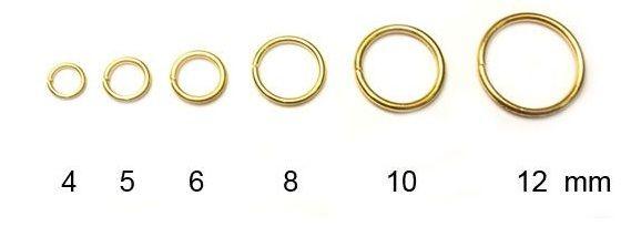 Spojovací kroužek, zlatý, 6 mm