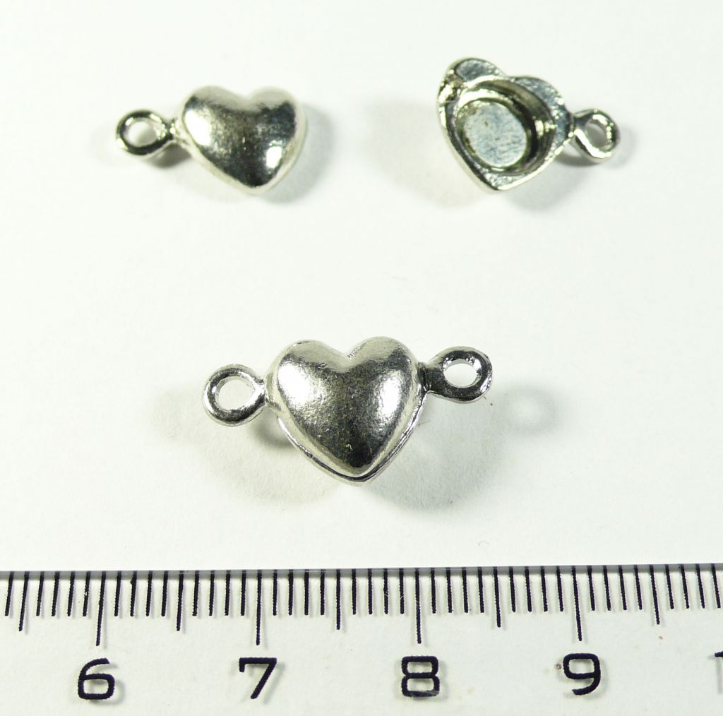 Magnetické zapínání srdce stříbrné