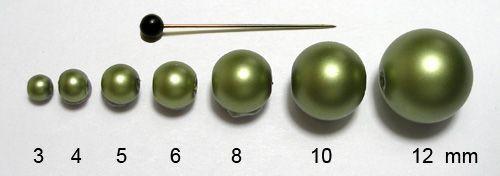 Voskované perly 6 mm sv. zelené mat