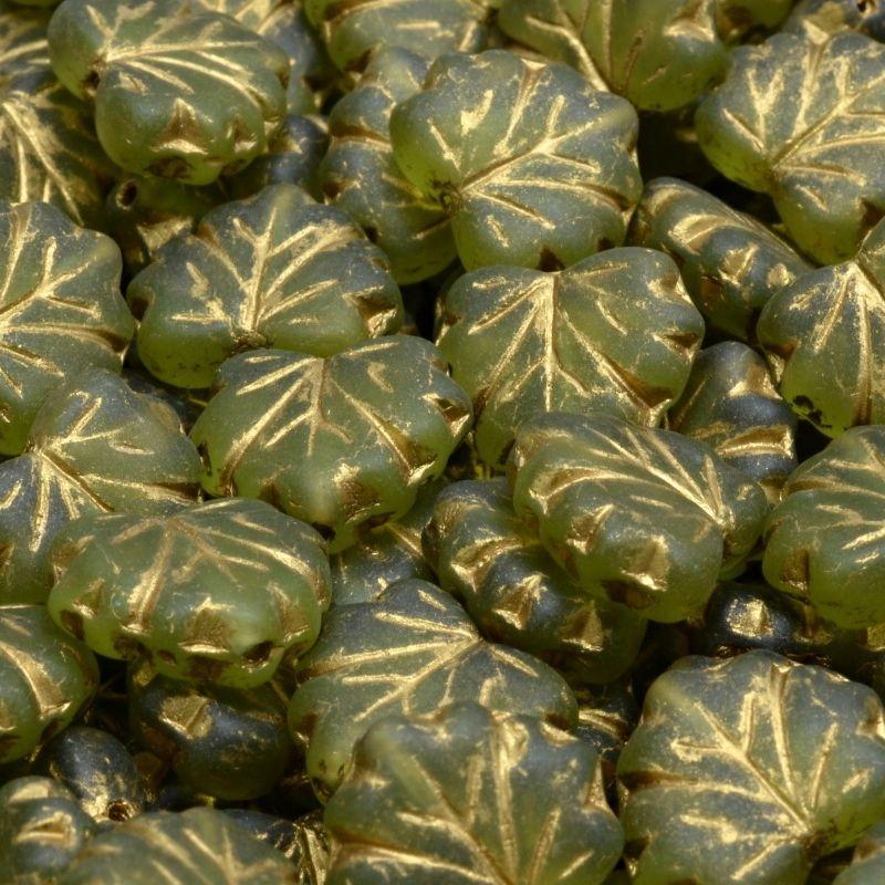 Korálky listy zelené zlatý zátěr mat