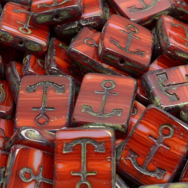 Kotvy červené žíhané travertin