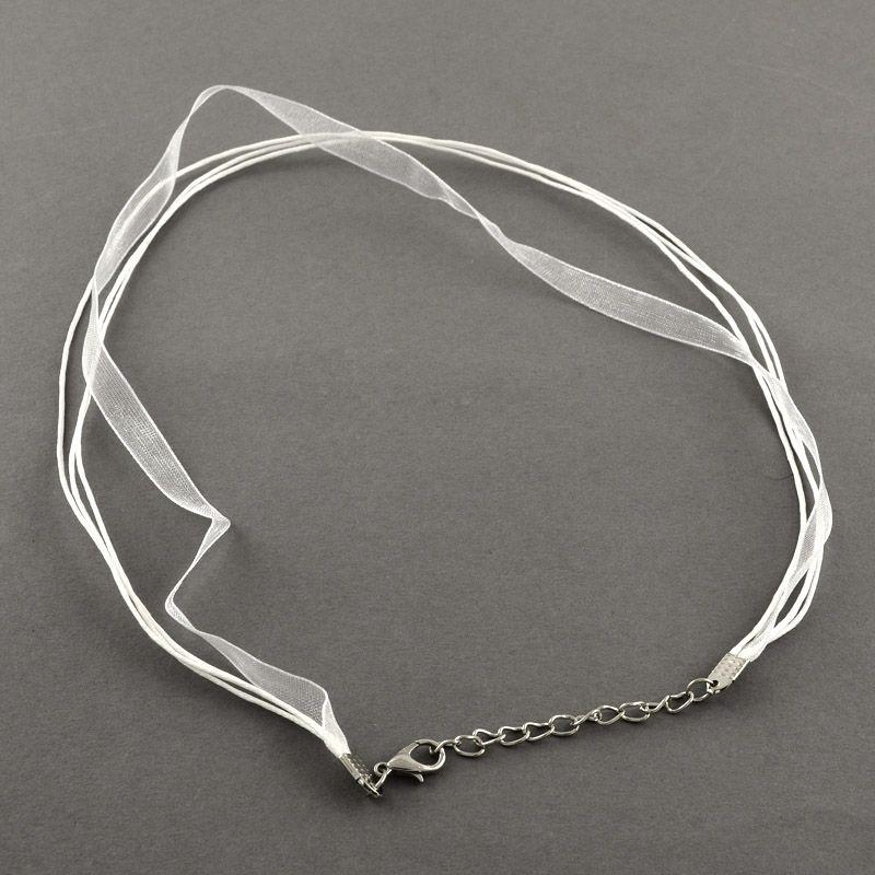 Náhrdelník organza-wax cord bílá