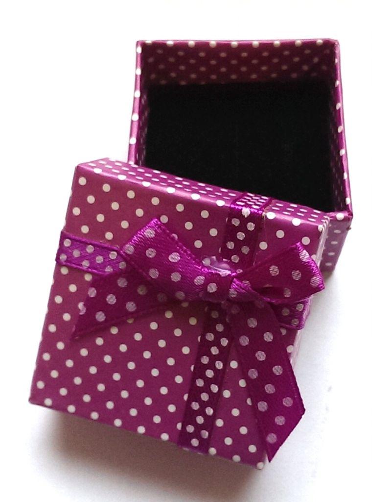 Dárková krabička fialový puntík