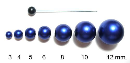 Voskované perly 3 mm tmavě modré mat