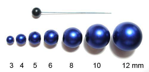 Voskované perly 6 mm tmavě modré
