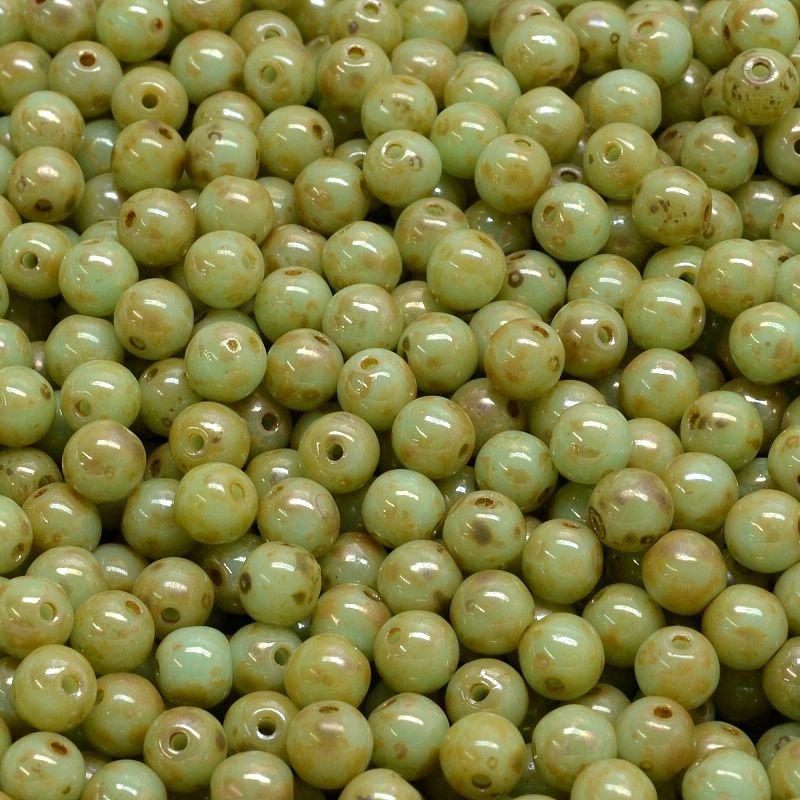 Kuličky 4 mm sytě sv. zelené picasso